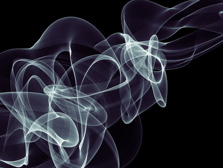 abstract white silk smoke over black background with copyspace.