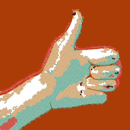 validation: Cartoon dotted hand thumbs up. vector buisness success like illustration. Illustration