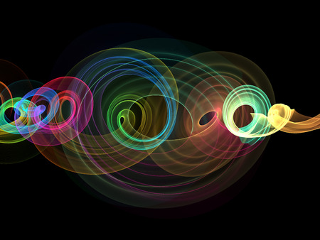 glowing rainbow curved lines and circles over dark