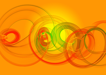 holyday glass transparent rainbow curved spiral and circles over yellow orange Abstract Background. horizontal Illustration Stock Photo