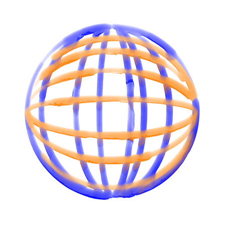 splash page: Abstract watercolor geometric circular 3d sphere background. Curved lines over white. Stock Photo
