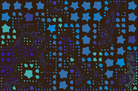 aligned: Abstract background full of stars and round shapes confetti.