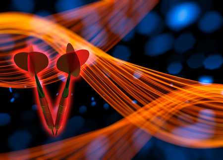 The two red darts flying in the space via background with bokeh lights and wavy smoke shapes. 3d illustration. Stock Photo