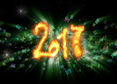 Happy new year 2017 isolated numbers written with fire on bright bokeh background full of flying digits 3d illustration.