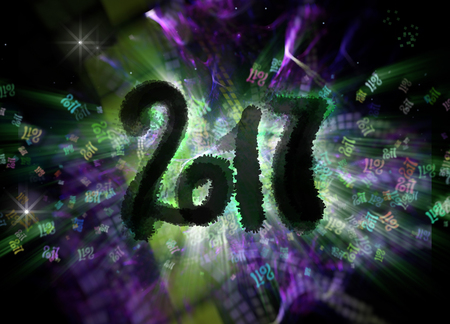 Happy new year 2017 isolated numbers written with darkness on bright bokeh background full of flying digits 3d illustration. Stock Photo