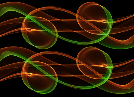 abstract eco fresh green and red smoke flame ribbon over black background. Stock Photo