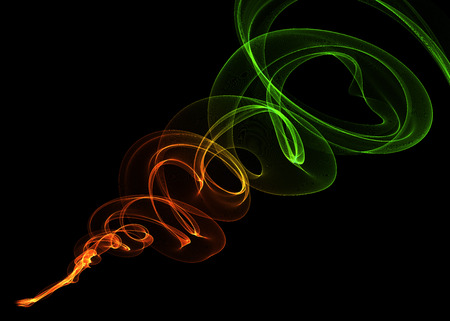 intertwined: abstract red orange green gradient smoke over black background with copyspace. Stock Photo