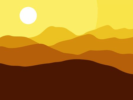Mountains on the Sun background. Vector EPS10 illustration. Illustration
