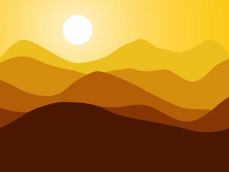 Mountains on the Sun background.  illustration.