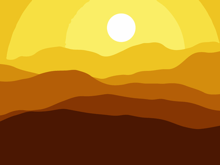 Mountains on the Sun background.