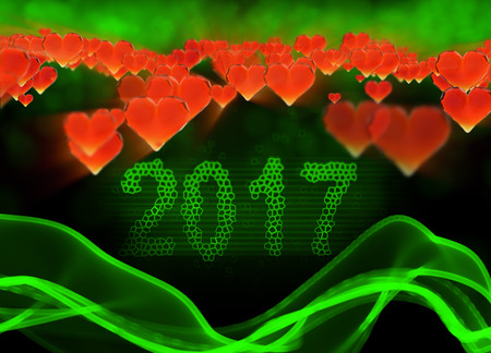 date night: Happy new year 2017 isolated numbers written with light on black tech geometric background and red flying hearts 3d illustration.