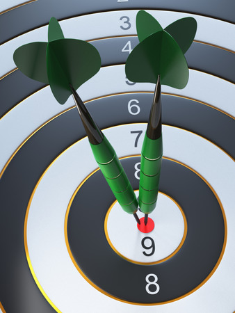 Two green darts hitting the bullseye aim. concept of success 3d illustration.