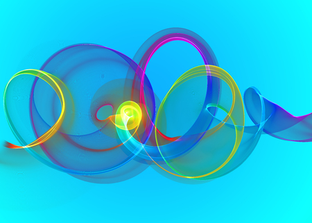 holyday glass transparent rainbow curved spiral and circles over cyan blue Abstract Background. horizontal Illustration Stock Photo