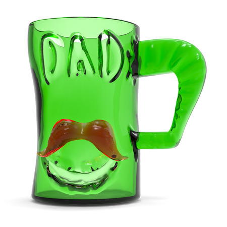 satined: Green glass mug cup with text dad and red mustache. 3d rendering Fathers day greeting card illustration. Stock Photo