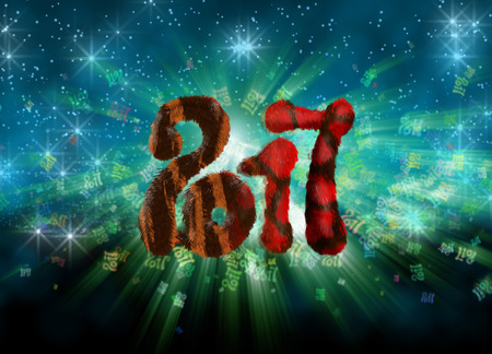 Happy new year 2017 isolated furry numbers on bright bokeh background full of flying digits 3d illustration.