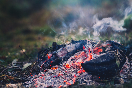 Evening campfire with available space Stock Photo