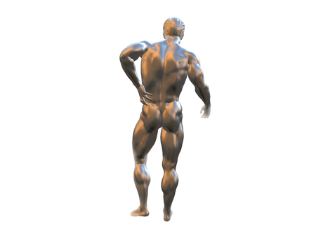 Male torso, pain in the back isolated on white background. 3d rendered illustration.