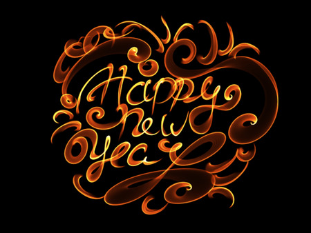 Happy new year isolated words lettering written with fire flame or smoke on black background.