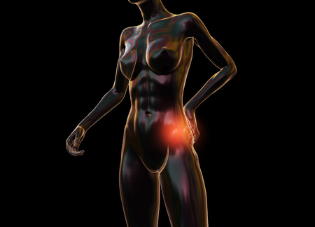 Female woman torso made of glass or bubble, pain in the back isolated on black background. 3d rendered medical illustration.