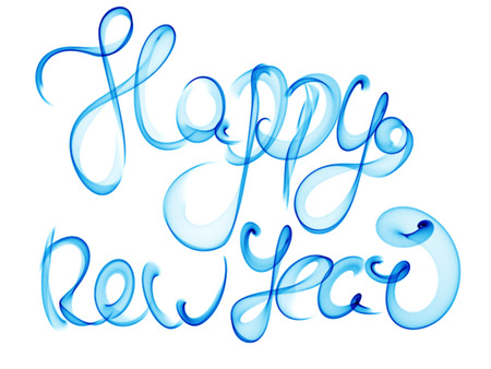 Happy New Year Isolated Words Lettering Written With Blue Fire ...