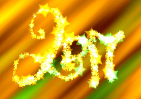 Happy new year 2017 isolated numbers lettering written by shining stars on bright green orange background.