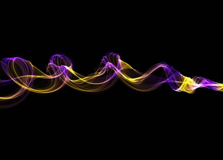 abstract colorful wavy smoke flame over black background Stock Photo