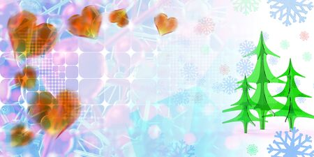 geometric square abstract background with christmas tree, hearts, stars and snowflakes. 3d illustration with copyspace.