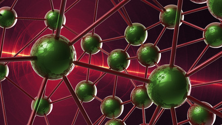 cromosoma: green Molecular geometric chaos abstract structure. Science technology network connection hi-tech background 3d rendering illustration.