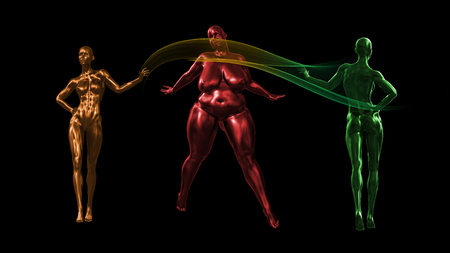 two tall healthy fit women and one fat on black background. 3d rendered medical concept illustration. Obesity problems.