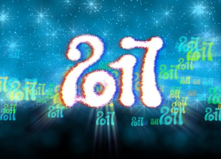 newyear: Happy new year 2017 isolated numbers written with light on bright bokeh background full of flying digits 3d illustration.
