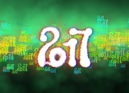 Happy new year 2017 isolated numbers written with light on bright bokeh background full of flying digits 3d illustration.