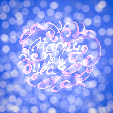 Happy new year isolated words lettering written with fire flame or smoke on blurred light bokeh background. Stock Photo