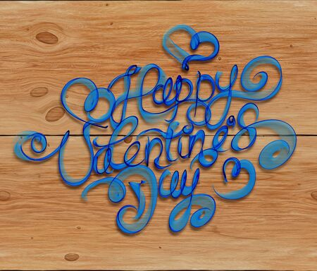 blue smoke: Happy Valentines day vintage lettering written by fire or blue smoke over wooden background. Stock Photo