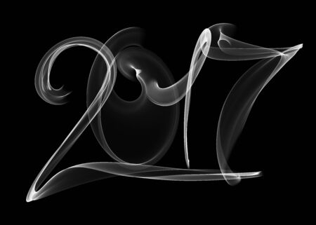 Happy new year 2017 isolated numbers lettering written with white fire flame or smoke on black background.