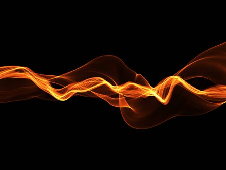 abstract red wavy smoke flame over black background.
