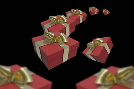 Colorful and striped boxes with gifts tied bows on black background. Happy new year or valentines 3d illustration. Stock Photo