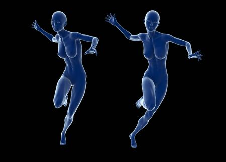 Slim attractive sportswoman running against a black background. 3d illustration. Stock Photo