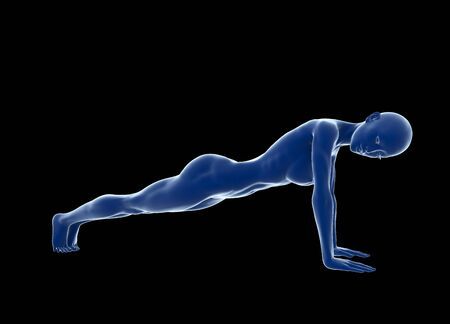 health club: Young muscular woman doing core exercise on the floor against black background. Fit female getting press-ups during the training in the health club. 3d illustration.