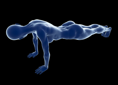 dedicate: Young muscular woman doing core exercise on the floor against black background. Fit female getting press-ups during the training in the health club. 3d illustration.