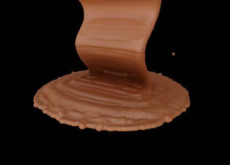 hot surface: splash of melting chocolate isolated on black background. Stock Photo
