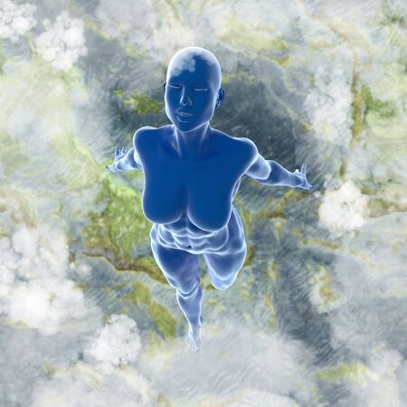 Slim attractive sportswoman flying in the air full of clouds over earth background. Fantasy fairy virtual reality 3d illustration. Stock Photo