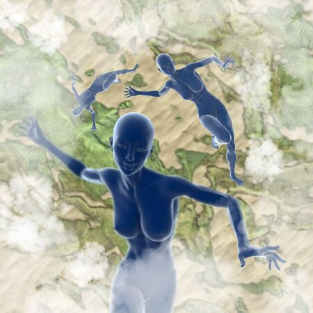 earth moving: Slim attractive sportswoman flying in the air full of clouds over earth background. Fantasy fairy virtual reality 3d illustration. Stock Photo