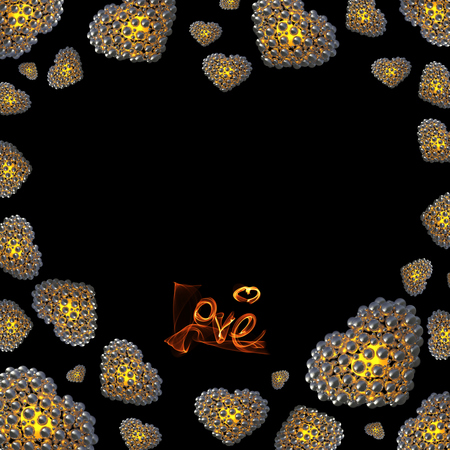 metal Gold hearts made of spheres isolated on black background with Love lettering written by fire or smoke. Happy valentines day 3d illustration. Copyspace for your design. Stock Photo