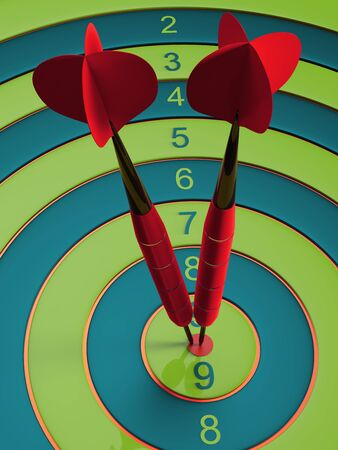 Two darts hitting the bullseye aim. concept of success 3d illustration.