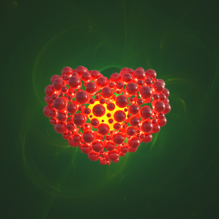 Red heart made of spheres with reflections isolated on green space background. Happy valentines day 3d illustration.