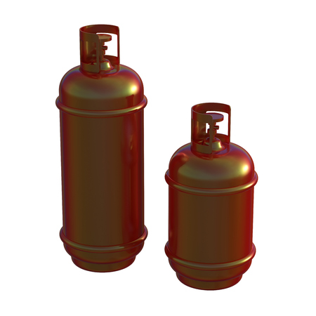 steel drum: Propane gas cylinder isolated on a whitebackground . 3d illustration Stock Photo