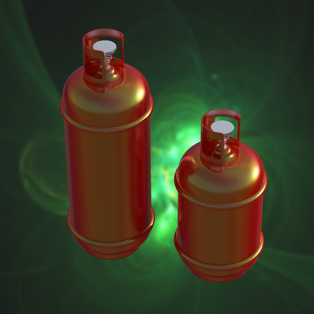 propane gas: Propane gas cylinder isolated on a green background . 3d illustration.