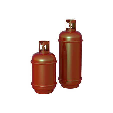 cilindro de gas: Propane gas cylinder isolated on a whitebackground . 3d illustration Foto de archivo