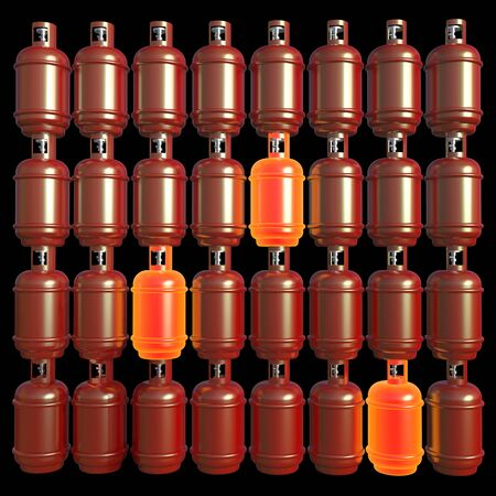 Propane gas cylinders isolated on a black background . 3d illustration. Stock Photo