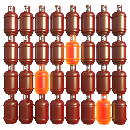Propane gas cylinders isolated on a white background . 3d illustration.